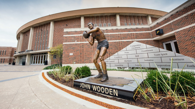 image about John Wooden Pyramid of Success Printable called John Picket Statue - Purdue Higher education Sports